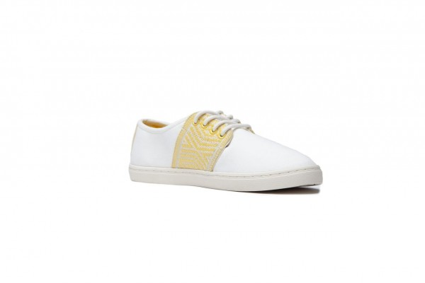 N'go Shoes Mekong Collection Mui Ne - Yellow Sisal Details.White Canvas Vegan
