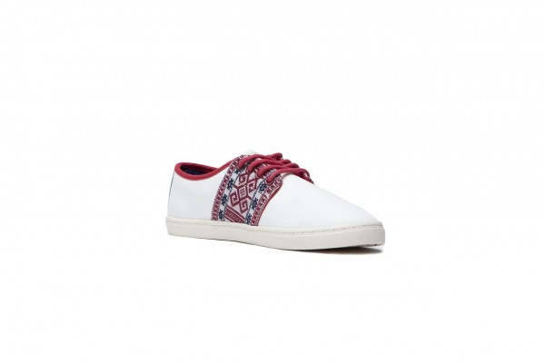 N'go Shoes Mekong Collection Phu Quoc - Red Details. White Canvas Vegan
